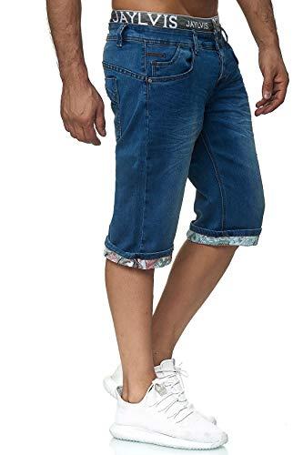 EGOMAXX Jaylvis Herren Jeans Shorts Print Kurze Hose Bermuda Stretch, Farben:Blau, Größe Hosen:32W