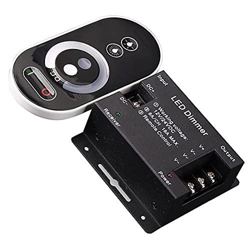 Yahunosu Interruptor de atenuador para Luces LED LED Touch Dimmer Dimmer Interruptores 6 Teclas Dimmer Interruptor con el Control Remoto de Brillo inalámbrico (sin batería)