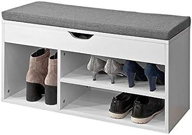 Haotian FSR45-HG,Storage Bench,Shoe Cabinet,Shoe Bench,Storage Cabinet with Lift Up Bench Top and Grey Cushion