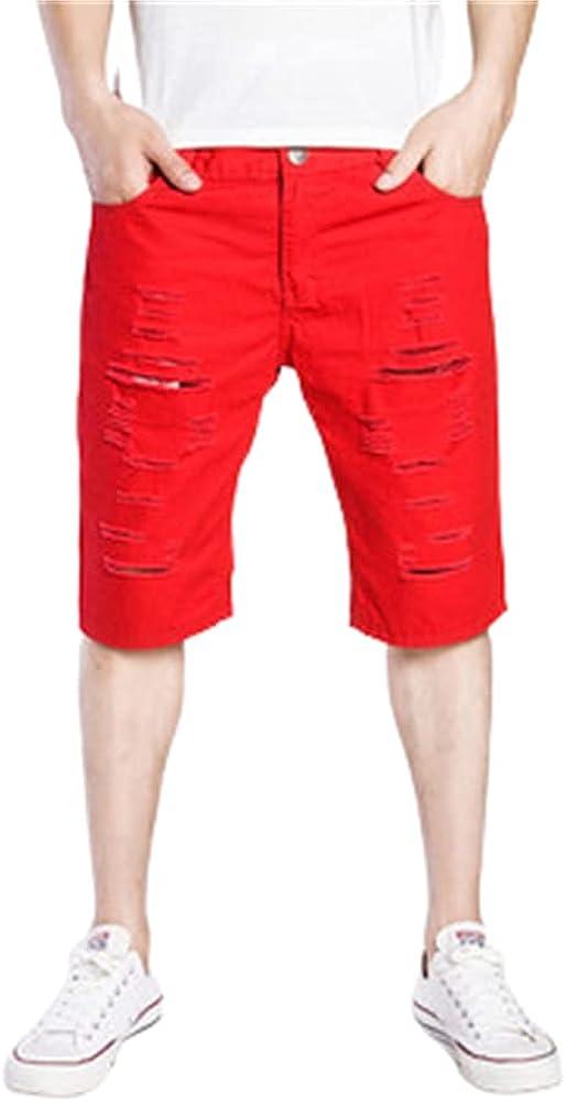 Ulooker Men's Fashion Casual Denim Shorts for Men Ripped Short Jeans Summer