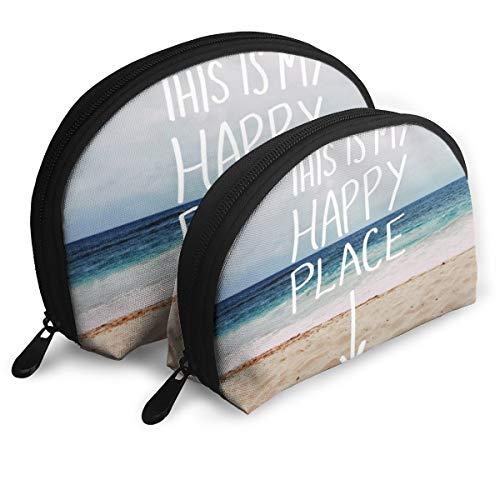 My Happy Place Beach Shell forma bolsas portátiles bolsa de embrague monedero bolso cosmético unisex viaje almacenamiento bolsa multifunción niño monedero llavero bolso 2 piezas