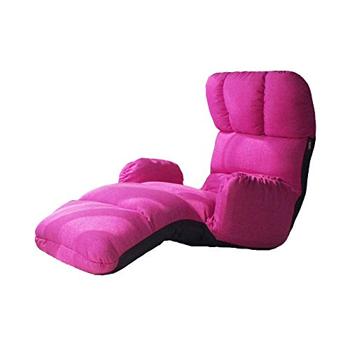 Axdwfd Chaise longue Lounge Chair, Lazy Couch Tatami Multi-fonction Accoudoir Chaise Déjeuner Pause Chaise Pliant Plancher Canapé-Lit Balcon Chaise de Loisirs 102 * 58 * 81cm (Couleur : Pink)