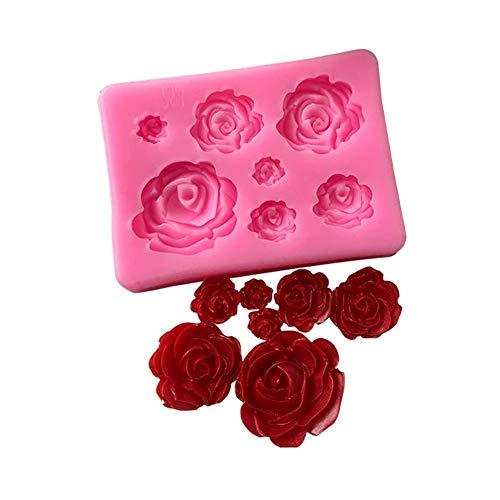 Gowsch - Molde de silicona para repostería con 7 cavidades rosas y flores, molde de silicona para tartas de chocolate, herramienta para decoración de tartas de boda, color rosa