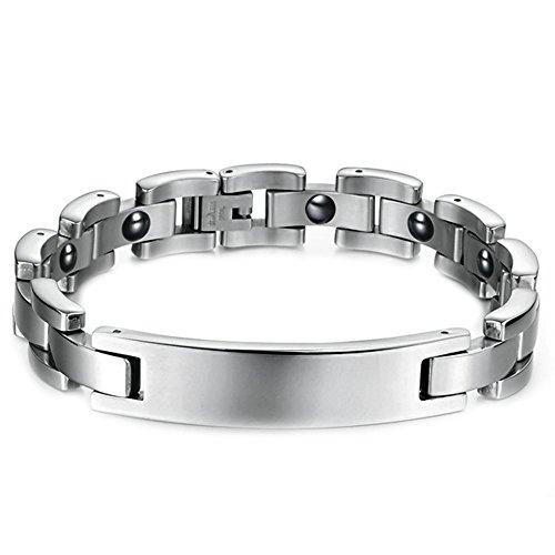 Onefeart Edelstahl Simple Design Glatt Magnet Armband für Herren Junge 21.5CM Silber Allergie Verhindern