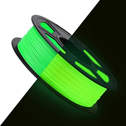3D Printer PLA Filament 1.75, Glow in The Dark PLA Filament 1.75mm, Fit FDM 3D Printer, 1KG Spool, Dimensional Accuracy +/- 0.02 mm, Glow in The Dark Green