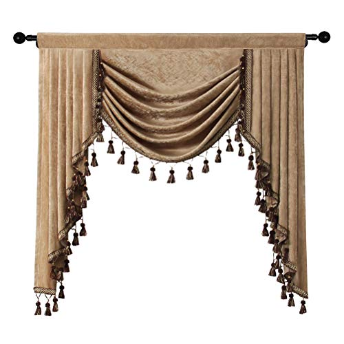 ELKCA Double-Sided Chenille Swag Waterfall Valance for Kitchen Luxury Window Curtains Valance for Living Room (Coffee, W39 Inch, 1 Panel)