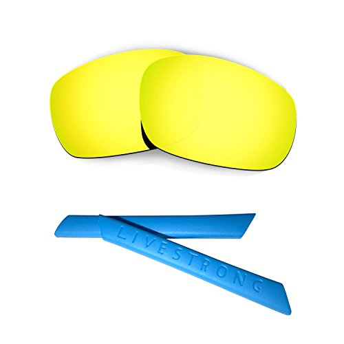 HKUCO 24K Gold Polarized Replacement Lenses Plus Blue Earsocks Rubber Kit for Oakley Racing Jacket