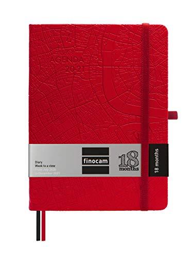 Finocam - Agenda 18 Meses 2020-2021 M5-140x190 Semana Vista Apaisada Minimal Travel Rojo Multilingüe