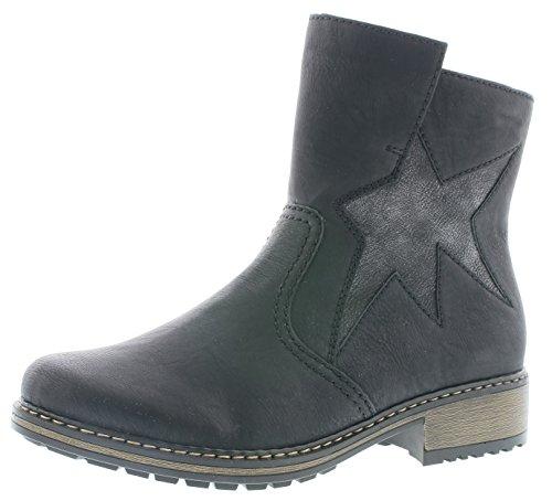 Rieker Damen Klassische Stiefel Z6865,Frauen Boots,Schlüpf-Stiefel,Slip-On-Boot,Blockabsatz 3.7cm,schwarz/Black-Silver, EU 41