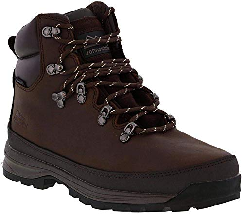 Johnscliffe Mens Edge Laced Crazy Horse Leather Padded Ankle Hiking Boot (6 UK) (Dark Brown)