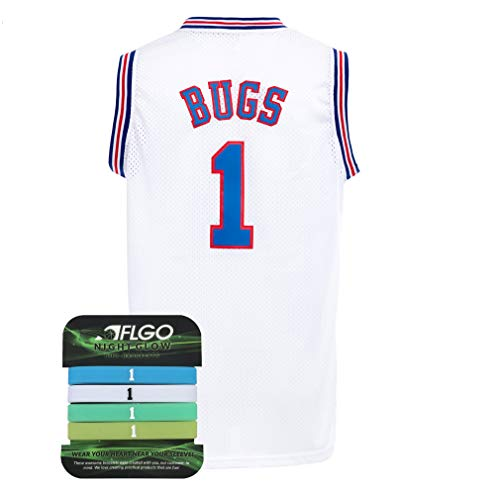 AFLGO Bug #1 Space Basketball Movie Stitched Jersey S-XXL 90S Costume Hip Hop Party Clothing Include Set Wristbands - White, Medium