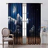 Night Sky - Cortinas de madera con forma de barra para sala de estar (54 x 84 cm), color marrón y azul oscuro