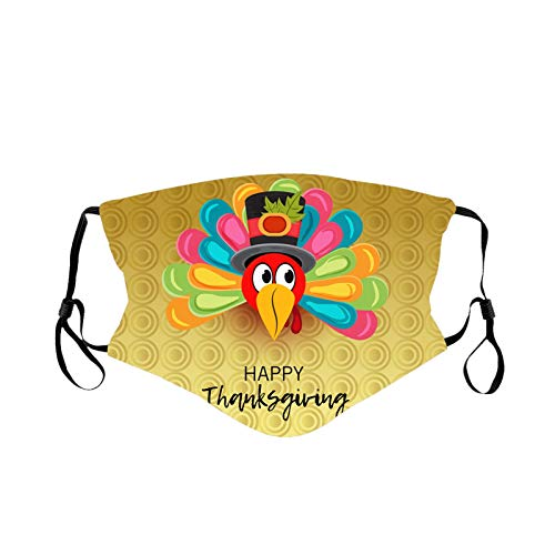 SSMEY Thanksgiving Adults Washable Funny Prints Face Guard, Washable Windproof And Dustproof Fashional Face Wear