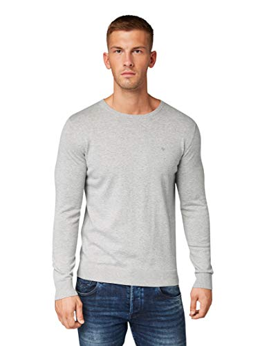 TOM TAILOR Herren Basic Rundhalspullover' Pullover, Light Soft Grey Melange, M EU