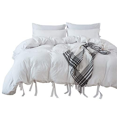 M&Meagle Duvet Cover White,Solid Color Bowknot Design,100% Microfiber Treated by Washed Cotton Process,Feels Like a Very Soft Cotton-Queen Size(3Pcs,1 Duvet Cover 2 Pillowcases)