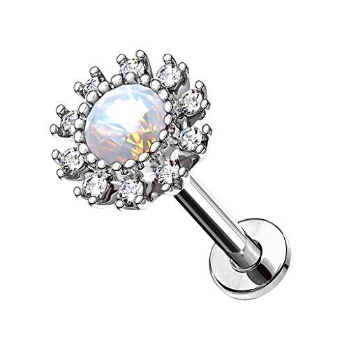 Piercingfaktor Piercing Stab mit Opal Blume Lippe Ohr Labret Tragus Helix Knorpel Stecker Lippenpiercing Ohrpiercing Silber 6mm