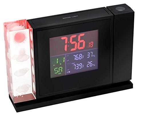Bresser Wetterstation Funk mit Außensensor MyTime Crystal P Kristall-Projektionswecker mit 3D-Wettertrendsymbolik, großem LCD-Display und Temperatur/Luftfeuchtigkeitsanzeige