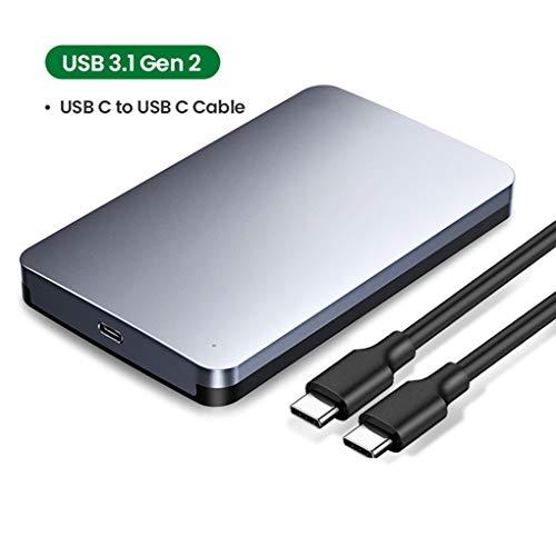LYY HDD Case 2.5 6 Gbps SATA auf USB-C 3.1 External Hard Drive Box Aluminium-Gehäuse für SATA-Festplatte SSD-Festplattengehäuse,B