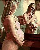 KLBPL Pintura por Numeros Mujer Embarazada Y Niño, Amor Lino Lona–DIY Pintura Al Óleo Decoracion De Pared Regalos Sin Marco 40,6X50,8 Cm con Pinturas Acrílicas Y 3 Pinceles
