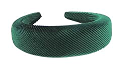 Glamour Girlz Ladies Evening High & Wide Padded Velvet Stripy Headband Alice Band (Emerald Green) Measures 4cm wide and 1.5cm high Makes a great Christmas stocking filler or gift idea.