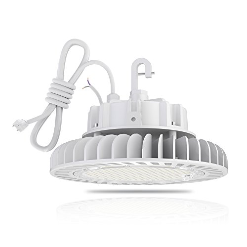 Hyperlite HB-HH-150W-58 Fixture LED High Bay Shop Lighting 5000K 20,250lm CRI>80 1-10V Dimmable 5' Cable with 110V Plug Hanging Hook UL/DLC Approved IP65 for Bran Gas Station, 150W-20, White