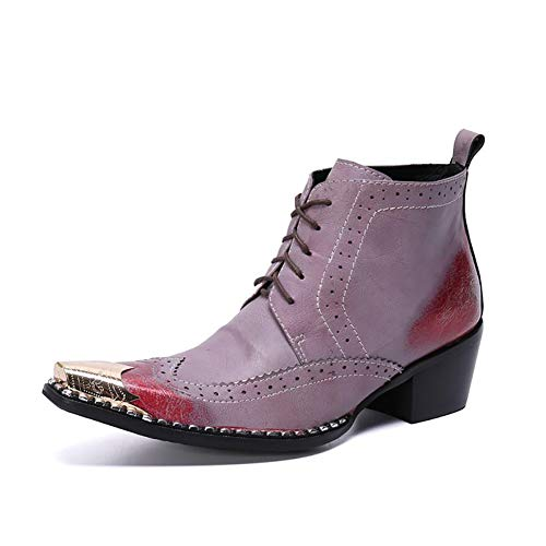 Story of life Bottines Pointues Pour Hommes En Cuir Véritable Bottines De Style Britannique Martin Bottes 2019 New Chelsea Boots,Rouge,39