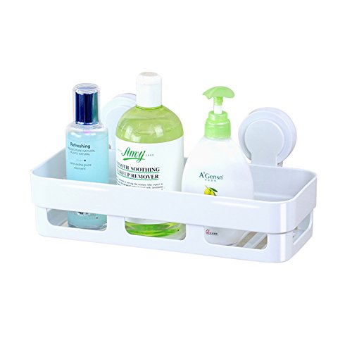 KKLTDI kunststof wandbeugel badkamer planken, witte douchecabine geen boren opslag organisator 1 lagen badkamer plank 30x12cm(12x5inch) B