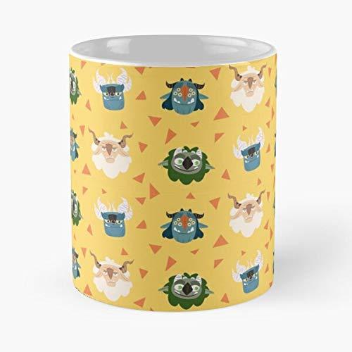 Troll Friends - Taza de café de cerámica de mármol blanco I