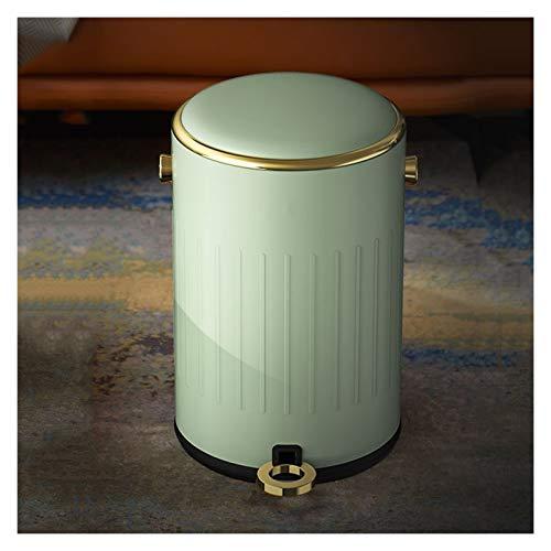 KGDC Mülleimer Licht Luxus-Pedal Trash Can Haushalt Covered Verschließbare Mülleimer kreativ Retro Metall Papierkorb mit Deckel, 9L / 2,3 Gallonen, Abfalleimer fürs Bad (Color : Vintage Green)