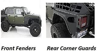 Smittybilt 2007-2015 Jeep JK Wrangler 4 Door XRC Rear Corner Guards and Front Fender Flares Black Textured 4pcs set
