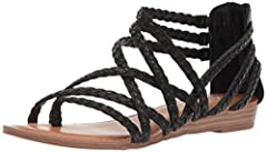 sandal braided strappy upper imported heel height: 1 inch zipper closure