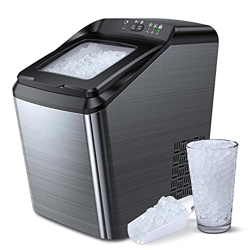 AICOOK Nugget Ice Maker for Countertop, Sonic Ice Maker Machine, Makes 26lb Pebble Ice per Day, Crunchy Pellet Ice Maker with 5.3lb Ice Bin and Scoop for Home Office, Self-Cleaning
