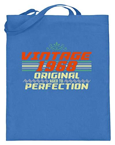 SPIRITSHIRTSHOP Vintage 1968 Original Aged To Perfection - Jutebeutel (mit langen Henkeln) -38cm-42cm-Blau