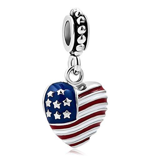 Charmed Craft Army Mom Charms USA American Flag Charms Love Heart Charm Beads for Snake Chain Bracelets (Heart Dangle)