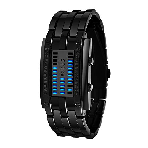 FeiWen Unisex Binär Digitale Uhren Schwarz Edelstahl Fashion Casual Stil Eckig Zifferblatt Blau LED Litch Einzigartig Armbanduhren Kalender (Damen)