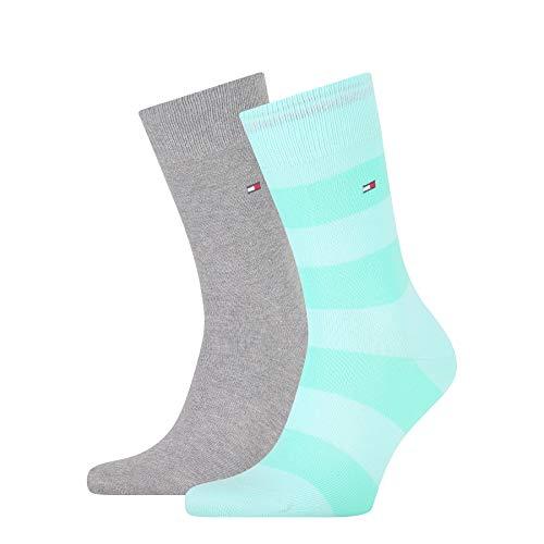 Tommy Hilfiger Mens Rugby Stripe Men's (2 Pack) Socks, Mint Combo, 43/46