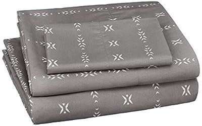 AmazonBasics Soft Microfiber Sheet Set with Elastic Pockets - Twin, Grey Simple Stripe