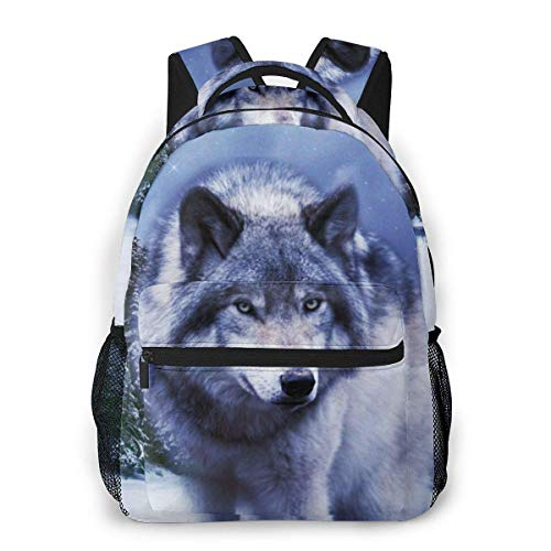 Lawenp Fashion Unisex Backpack Winter Cool Wolf Bookbag Lightweight Laptop Bag for School Travel Outdoor Camping
