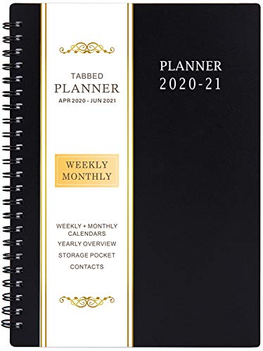 "2020-2021 Planner - Academic Weekly & Monthly Planner, 6.25"" x 8.3"", Jul 2020-Jun 2021, Flexible Cover,12 Monthly Tabs, 21 Notes Pages, Twin-Wire Binding with Two-Sided Inner Pocket"