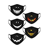 iYmitz 5 Stück Kinder Mundschutz mit Motiv Multifunktionstuch Terror Ugly Joker-Smiley Lustig Motive Waschbar Wiederverwendbar Stoff Baumwolle Mund-Nasen Atmungsaktiv Halstuch Schals Jungen