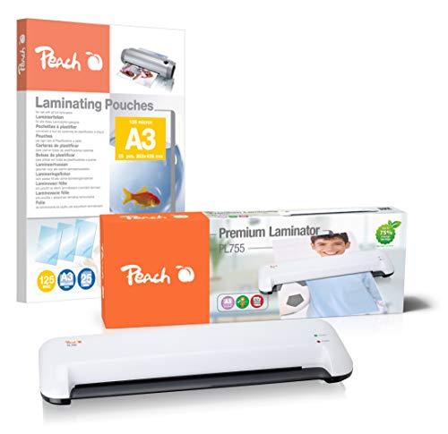Peach PL707 Home Office - Plastificadora (DIN A4, lista en 3-5 minutos, 2 x 125 mic, 250 mm/min, incluye 25 láminas de plastificado, plastificadora en caliente
