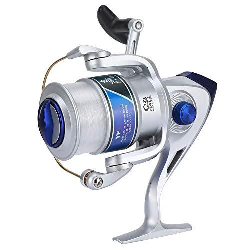 TANKE Plástico Spinning Reel Pesca 12BB para agua dulce/sal mar Pesca rueda YF serie plata 4000