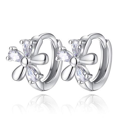 YFZCLYZAXET Pendientes Mujer Moda Casual Plata Esterlina Clásico Cuadrado Cristal Piedra Aretes Joyería