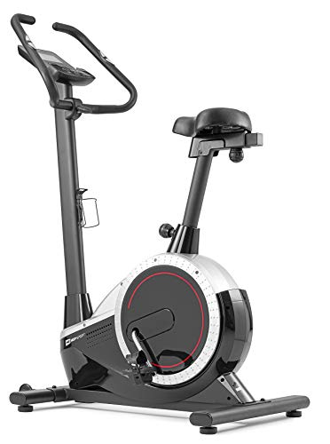 Hop-Sport Heimtrainer Fahrrad HS-060H Exige - Ergometer mit Tablethalterung, 12 Trainingsprogrammen, 16 Widerstandsstufen - Lenker & Sattel Verstellbar - Fitnessbike max. Nutzergewicht 120 kg Silber