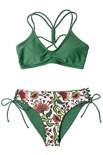 CUPSHE Conjunto de Bikini Mujer Floral Reversible Cordones Cintura Baja Traje de Baño de Dos Piezas, XS