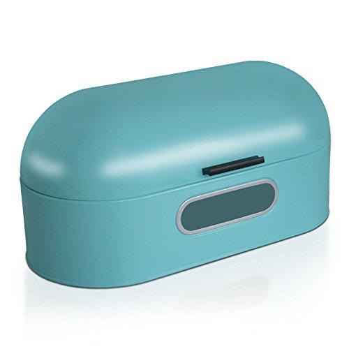 casa pura Boite à Pain Vintage Boite Conservation Pain | Boite Bleu | Acier Inoxydable | 43,5 x 21 x 20,5 cm - Ben