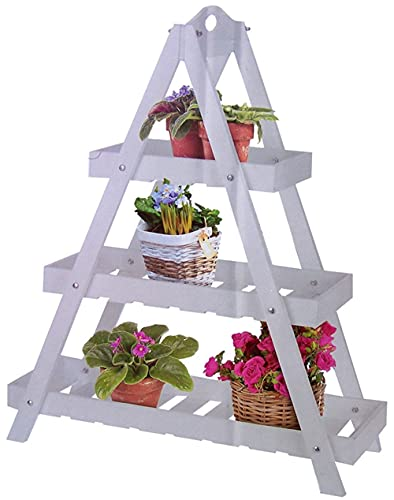 Vetrineinrete Fioriera a 3 ripiani scaffale in legno bianco per piante porta fiore da giardino balcone Z59