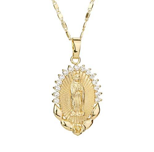 HMOOY Colgante De Virgen María Chapado En Oro con Collar De Cruz Medalla Milagrosa Colgante Collar Católico Cristiano Charms Cadena De Joyería para Mujeres Y Hombres
