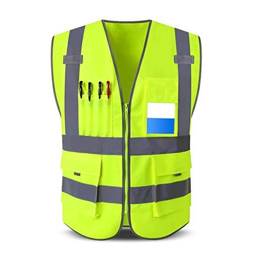 DBL Warnweste 100% Polyester Arbeitskleidung mit mehreren Taschen Reflektierende Sicherheitsweste Travel At Night Security Unisex Sicherheitswesten (Color : Fluorescent yellow, Size : XL)