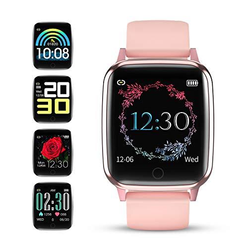 GOKOO Smartwatch Orologio Fitness Tracker Donna IP67 Impermeabile Cardiofrequenzimetro e Contapassi e Calorie da Polso Full Touch Screen Compatibile Android e iOS